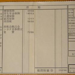 給与明細票 5月分 トヨタ車体
