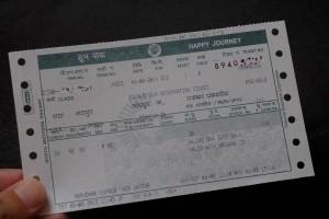 ジョードプル行きのチケット