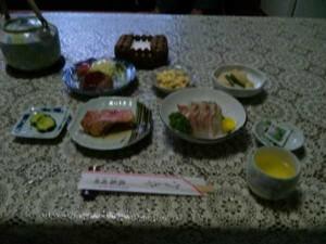 民宿岡田の夕食