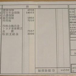 給与明細票 1月分 トヨタ車体