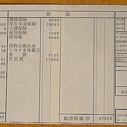 給与明細票 6月分 トヨタ車体