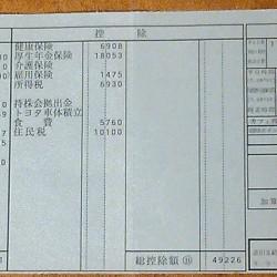 給与明細票 9月分(2年目) トヨタ車体