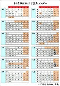 トヨタ車体2013年度カレンダー(暫定)