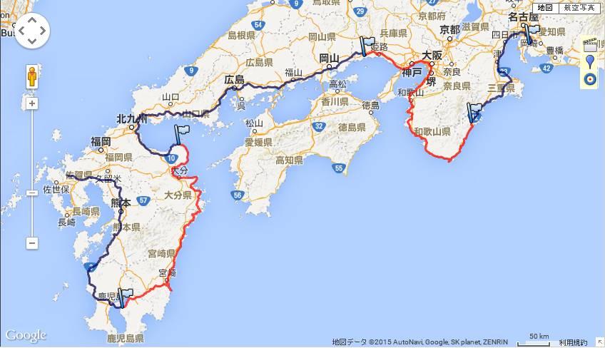 西日本車中泊-全行程
