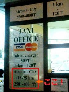空港のタクシー乗り場の料金表示